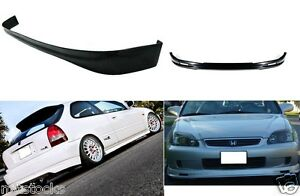 For 99 00 Civic Hatchback 3 Door Pu Black Add on Front Rear Bumper Lip Spoiler