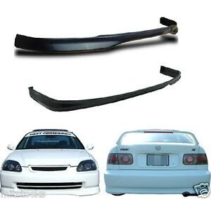 For 1999 2000 Civic 2 4 Dr Type R Pu Black Add on Front Rear Bumper Lip Spoiler