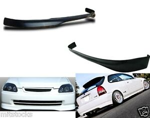 For 99 00 Civic Hatchback Type R Pu Black Add on Front Rear Bumper Lip Spoiler