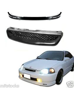 For 1999 2000 Civic 2 3 4 Door Pu Black Add on Front Bumper Lip Mesh Grill