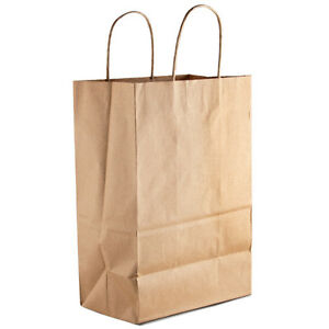 50 Retail Paper Shopping Bag 9x5x13 Kraft With Rope Handle Plain Natural