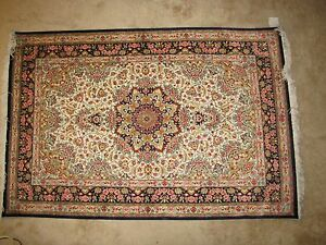 Unique Persian Hand Knotted 100 Silk Rug By Ostad Vafaei Qom