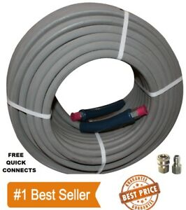 Pressure Washer Parts 100 Ft 3 8 Gray Non marking 4000psi Pressure Hose Free Qc