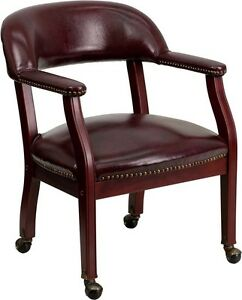 Oxblood Vinyl Luxurious Conference Chair With Caters Office Guest Lounge Chair