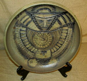 Mid Century Danish Modern Art Pottery Charger Artist Signed