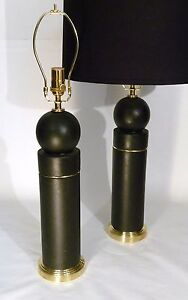 Pr Art Deco Bauhaus Ceramic Brass Bulbed Cylinder Form Table Lamps Lights