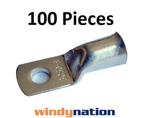 100 6 Gauge 6 Awg X 5 16 Tinned Copper Lug Battery Cable Connector Terminal