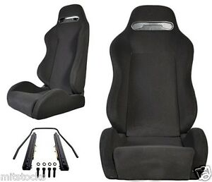 2 Black Cloth Black Stitch Racing Seats Reclinable Sliders Volkswagen New