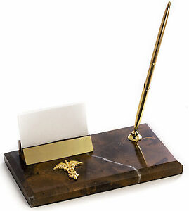 Desk Accessories Medical Caduceus Marble Pen Stand Business Card Holder