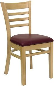 Natural Wood Finished Ladder Back Restaurant Chair With Burgundy Vinyl Seat