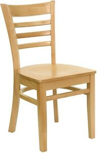 Natural Wood Finished Ladder Back Restaurant Chair With Matching Wood Seat