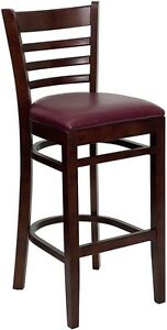 Mahogany Wood Finished Ladder Back Restaurant Bar Stool With Burgundy Vinyl Seat