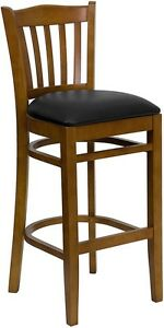 Cherry Wood Finished Vertical Slat Back Restaurant Bar Stool With Black Vinyl