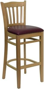 Natural Wood Finish Vertical Slat Back Restaurant Bar Stool With Burgundy Vinyl