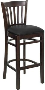 Walnut Wood Finished Vertical Slat Back Restaurant Bar Stool With Black Vinyl