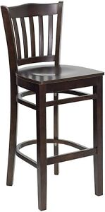 Walnut Wood Finished Vertical Slat Back Restaurant Bar Stool With Wood Seat