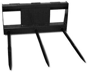 Skid Steer Bale Spear Attachment With Triple Tines Universal Mounting Plate