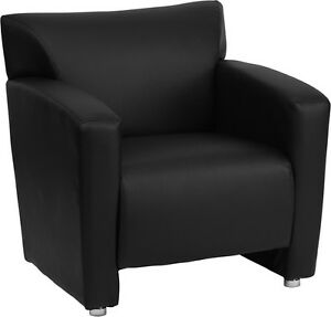 Majestic Series Black Leather Reception Area Side Chair Guest Lounge Chair