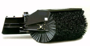 Skid Steer Angle Broom Industrial Series 72 Wide Manual W Poly wire Brush