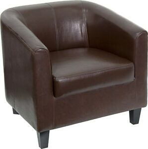 Brown Leather Barrel Shaped Guest Lounge Chair Reception Area Side Chair