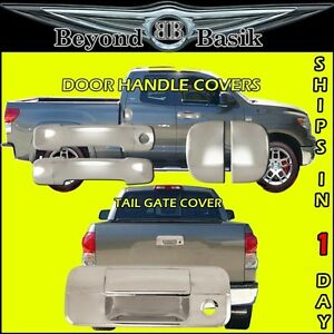 For 07 13 Toyota Tundra Ext Cab Chrome Door Handle Covers Tailgate No Camhole