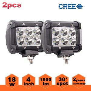 2x 4 18w Cree Led Work Light Bar Spot Offroad 4wd Fog Atv Suv Driving Lamps