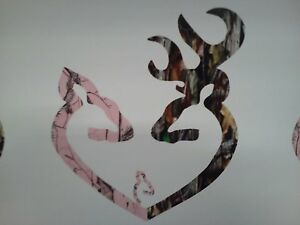 Browning Style Reg Buck And Pink Doe Heart With Baby Doe Hunting Sticker Decal