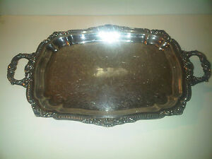 Vintage Poole Silver Plate Serving Tray W Handles Feet Platter