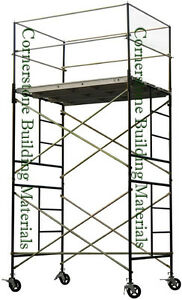 Heavy Duty Scaffold Rolling Tower 5 X 7 X 11 Standng Deck High With Railing