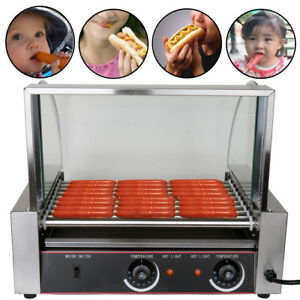 Commercial 24 Hotdog Hot Dog 9 Roller Grill Cooker Machine W cover Ce