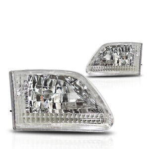 Winjet 1997 2000 Ford F 150 F 250 Expedition Euro Headlights Chrome Clear