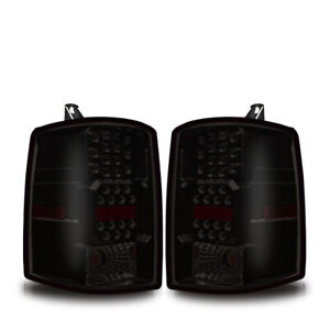 1997 1998 Jeep Grand Cherokee Led Tail Lights Black Smoke Lens Rear Lamps Pair