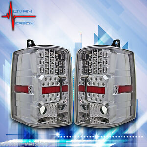1997 1998 Jeep Grand Cherokee Led Tail Lights Chrome Clear Lens Rear Lamps Pair