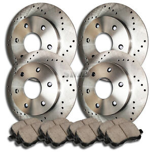 A0456 Front Rear Performance Cross Drilled Brake Rotors And Ceramic Pads