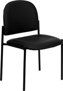 Black Vinyl Comfortable Stackable Office Guest Waiting Room reception Side Chair
