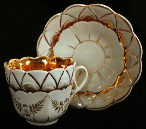 Cup Saucer Porcelain Germany Molded Body Gold Gilt 3 T C1900