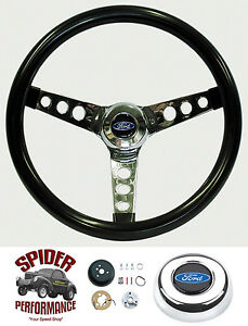 1965 1966 Ford Pickup Steering Wheel Blue Oval 13 1 2 Glossy Grip