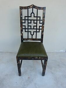 70 S Chinese Chippendale Tessellated Horn Chair W Ostrich Leather Karl Springer