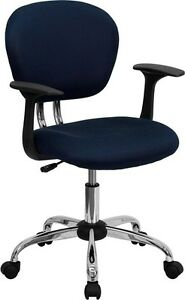 Mid Back Office Desk Chair With Arms Navy Mesh Upholstery And Chrome Accents