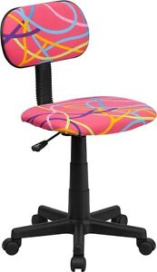 Multi Colored Swirl Printed Pink Kids Or Adult Office Desk Chair