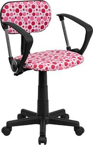 Multi Colored Pink Dot Printed Computer Office Desk Chair With Arms