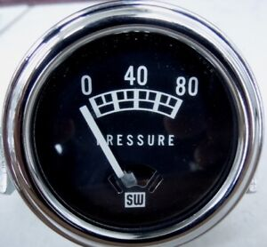 Nos 1966 Vintage Stewart Warner Oil Pressure Gauge 0 80 Psi 12v Electric