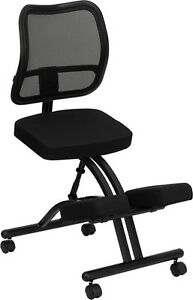 Mobile Ergonomic Kneeling Office Chair W Black Curved Mesh Back