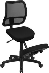 Mobile Ergonomic Kneeling Office Chair With Black Curved Mesh Back