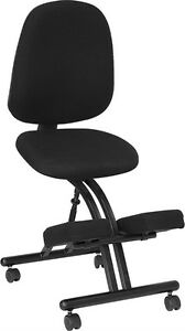 Mobile Ergonomic Kneeling Posture Office Chair With Black Fabric Seat And Back