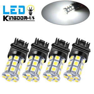 4x White 3157 24 Smd Led Light Bulbs Daytime Running Backup Reverse 3757 3457