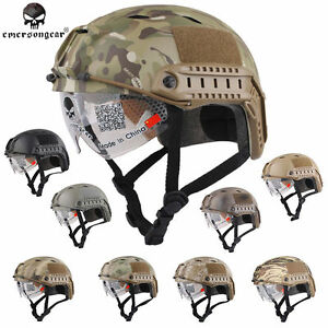 EMERSON FAST Helmet with Protective Goggles Airsoft Tactical Military Army BJ