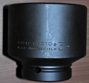 Proto 1 Drive Impact Socket Size 3 in Hex 6 Point Made In Usa Proto J10048