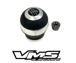 Racing Shift Knob Aluminum W Real Leather For Nissan 10x1 25mm 6 Speed Mt
