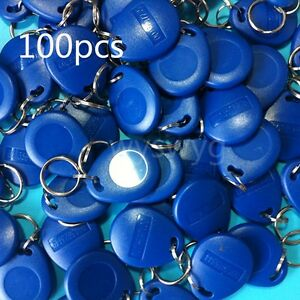100pcs Em4100 Tk4100 125khz Rfid Id Induction Proximity Tag Token Keyfob Blue
